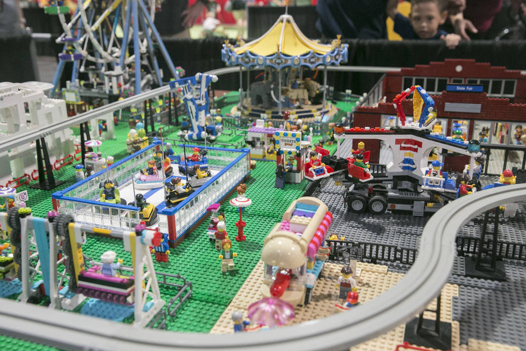 Suzy Lentchner and Lance Paulson's LEGO State Fair display during Brick Fest Live! at the Las Vegas Convention center in Las Vegas on Saturday, Sept. 9, 2017. Lentchner says the display was inspir ...