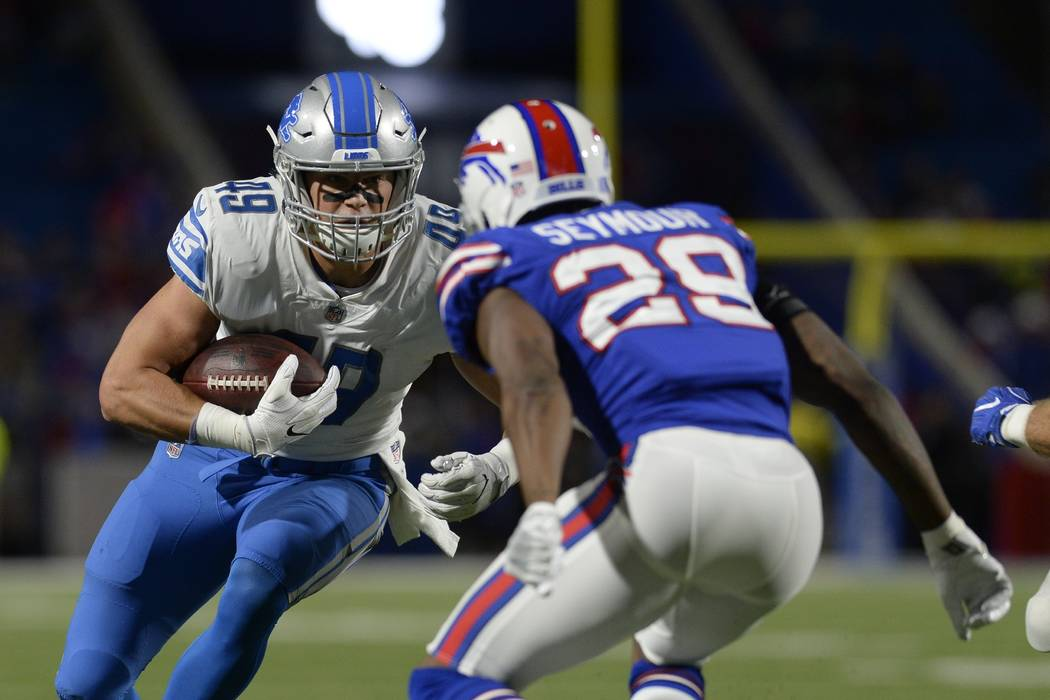 Buffalo Bills' Kevon Seymour (29) tackles Detroit Lions' Robert Tonyan (49) during the second half of a preseason NFL football game Thursday, Aug. 31, 2017, in Orchard Park, N.Y. (AP Photo/Adrian  ...