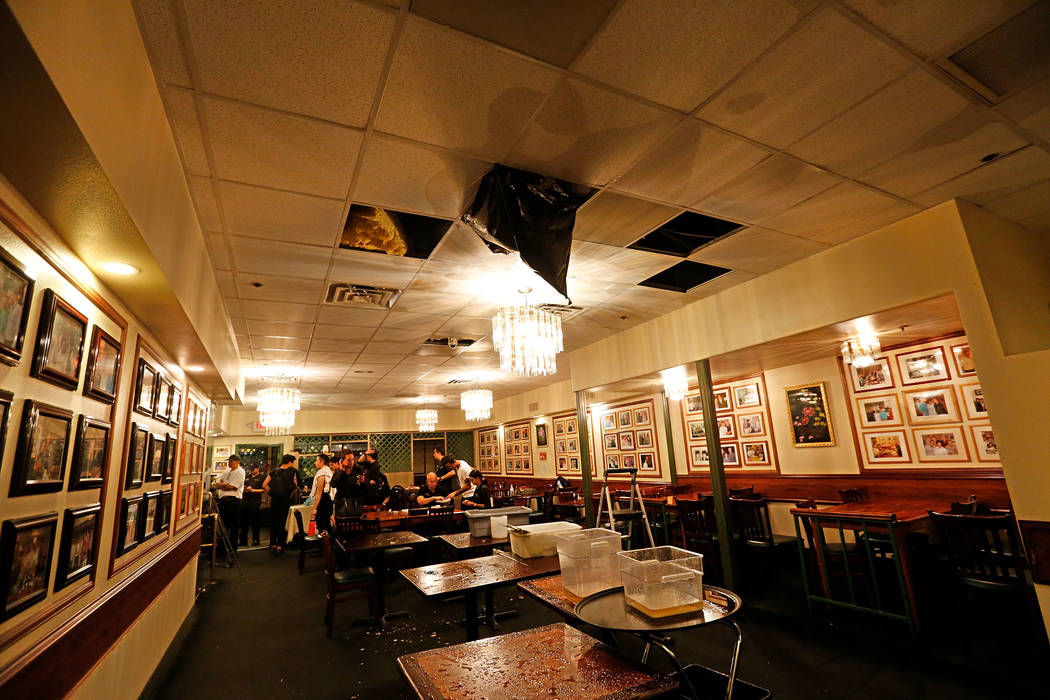 Water drips down from the ceiling of Thai restaurant Lotus of Siam after a portion of its ceiling collapsed in Las Vegas, Friday, Sept. 8, 2017. Chitose Suzuki Las Vegas Review-Journal @chitosephoto