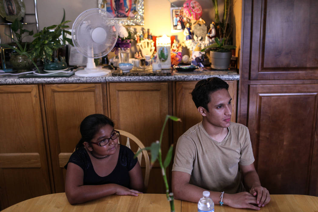 Nelly Rodriguez, left, and her brother Deferred Action for Childhood Arrival program recipient Johan Gaytan, during an interview at their Las Vegas home Thursday, Sept. 7, 2017. Joel Angel Juarez  ...