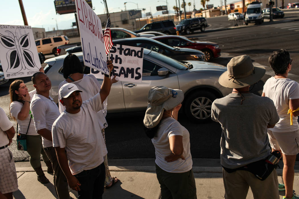 Several hundred DACA recipients and supporters including Rico Ocampo march down the Strip in Las Vegas, Sunday, Sept. 10, 2017, to call on President Donald Trump and Nevada elected officials to pr ...