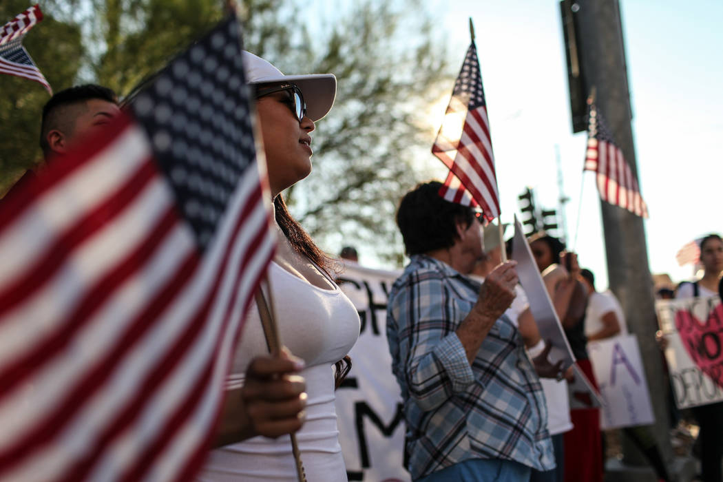 Several hundred DACA recipients and supporters including Paulina Alvarez march down the Strip in Las Vegas, Sunday, Sept. 10, 2017, to call on President Donald Trump and Nevada elected officials t ...