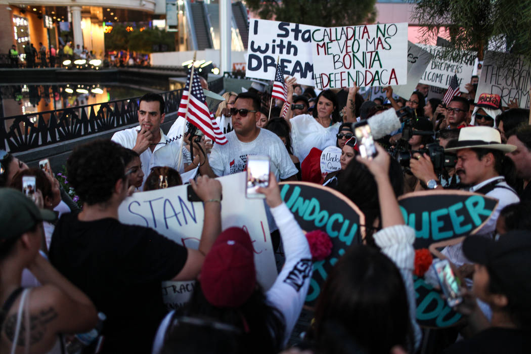 Rep. Ruben J. Kihuen speaks during a rally of DACA recipients and supporters in the Strip in Las Vegas, Sunday, Sept. 10, 2017, to call on President Donald Trump and Nevada elected officials to pr ...