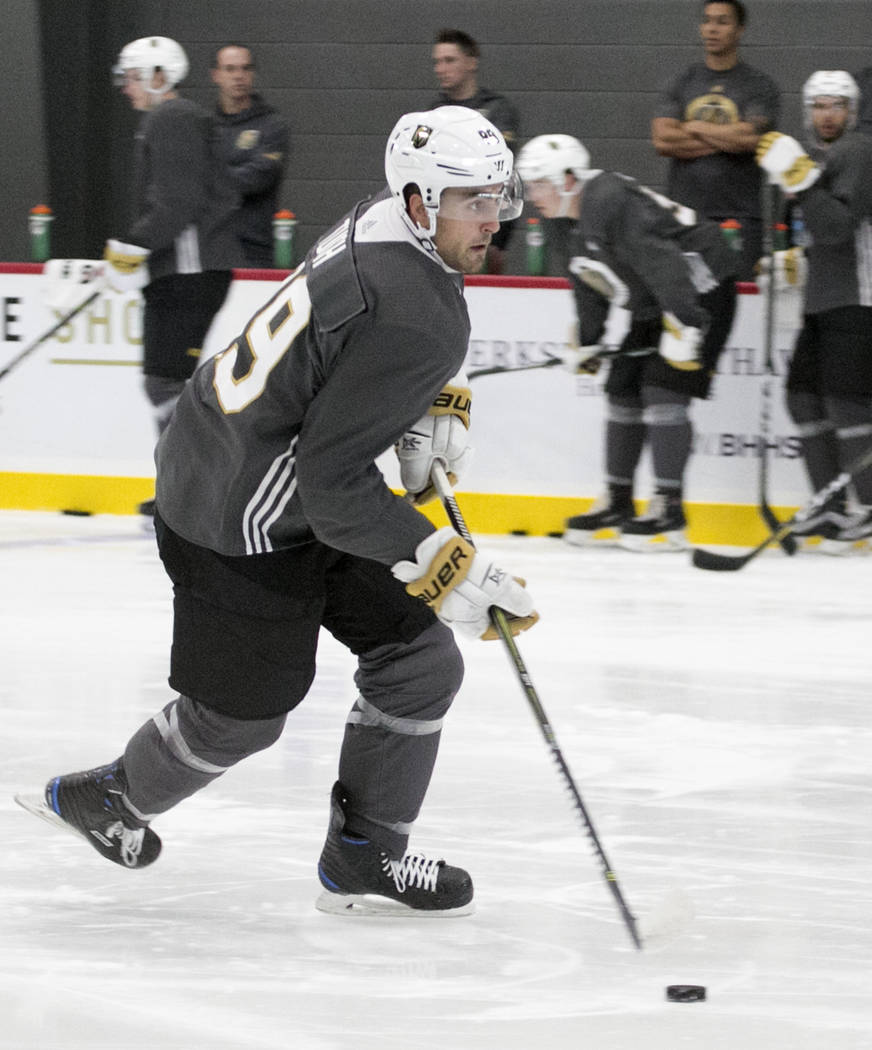 Vegas Golden Knights' forward Alex Tuch receives a pass during rookie camp at City National Arena on Friday, Sept. 8, 2017, in Las Vegas. (Bizuayehu Tesfaye/Las Vegas Review-Journal) @bizutesfaye
