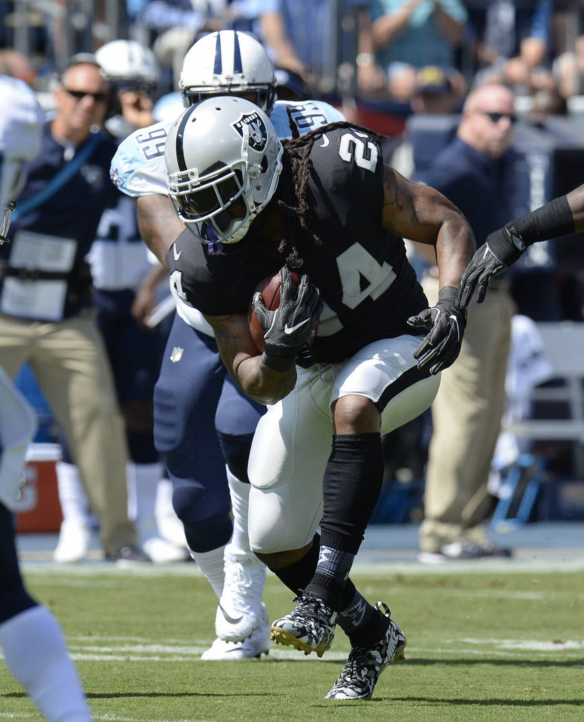 Oakland Raiders running back Marshawn Lynch (24) carries the ball against the Tennessee Titans in the first half of an NFL football game Sunday, Sept. 10, 2017, in Nashville, Tenn. (AP Photo/Mark  ...