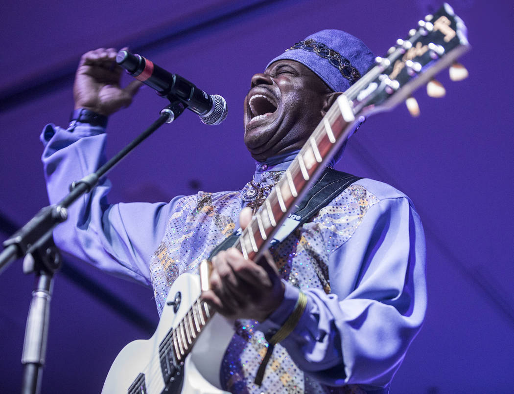 Lil' Ed and The Blues Imperials perform during the Big Blues Bender at The Plaza hotel-casino on Thursday, September 7, 2017, in Las Vegas. Benjamin Hager Las Vegas Review-Journal @benjaminhphoto