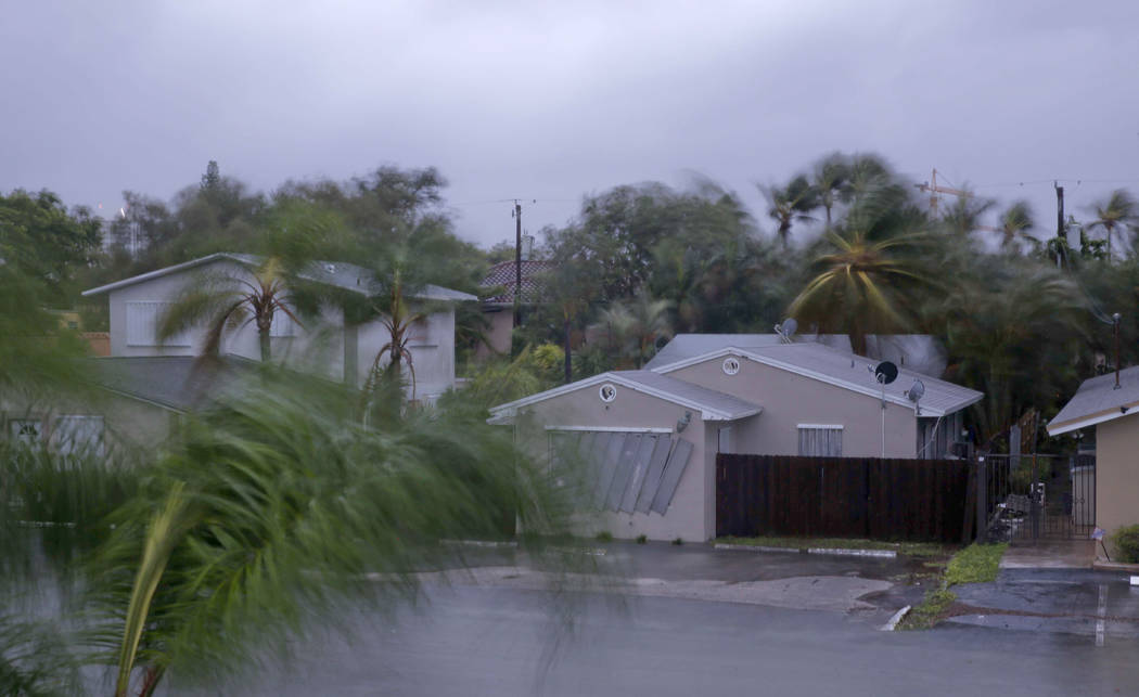 Hurrican Irma hits a neighborhood in downtown Ft. Lauderdale, Florida, on Sunday. (Andrew Innerarity/Washington Post)