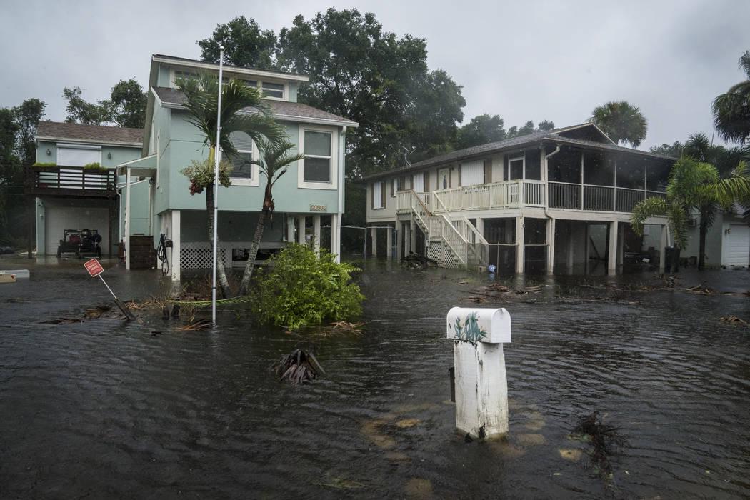 Flood waters begin to rise in neighborhoods Sunday as Hurricane Irma arrives in Bonita Springs, Florida.  (Jabin Botsford/Washington Post)
