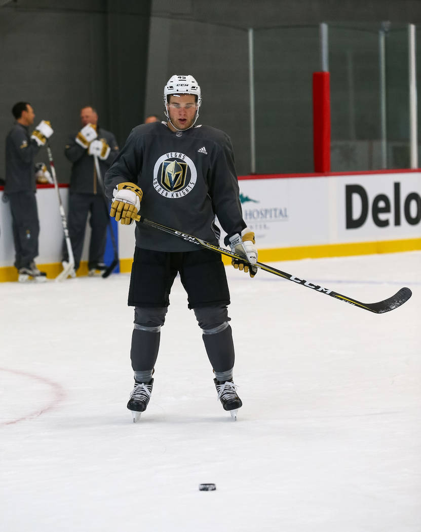 Vegas Golden Knights defender Jake Bischoff on the ice during the final day of rookie camp practice at City National Arena on Monday, Sept. 11, 2017, in Las Vegas. Richard Brian Las Vegas Review-J ...