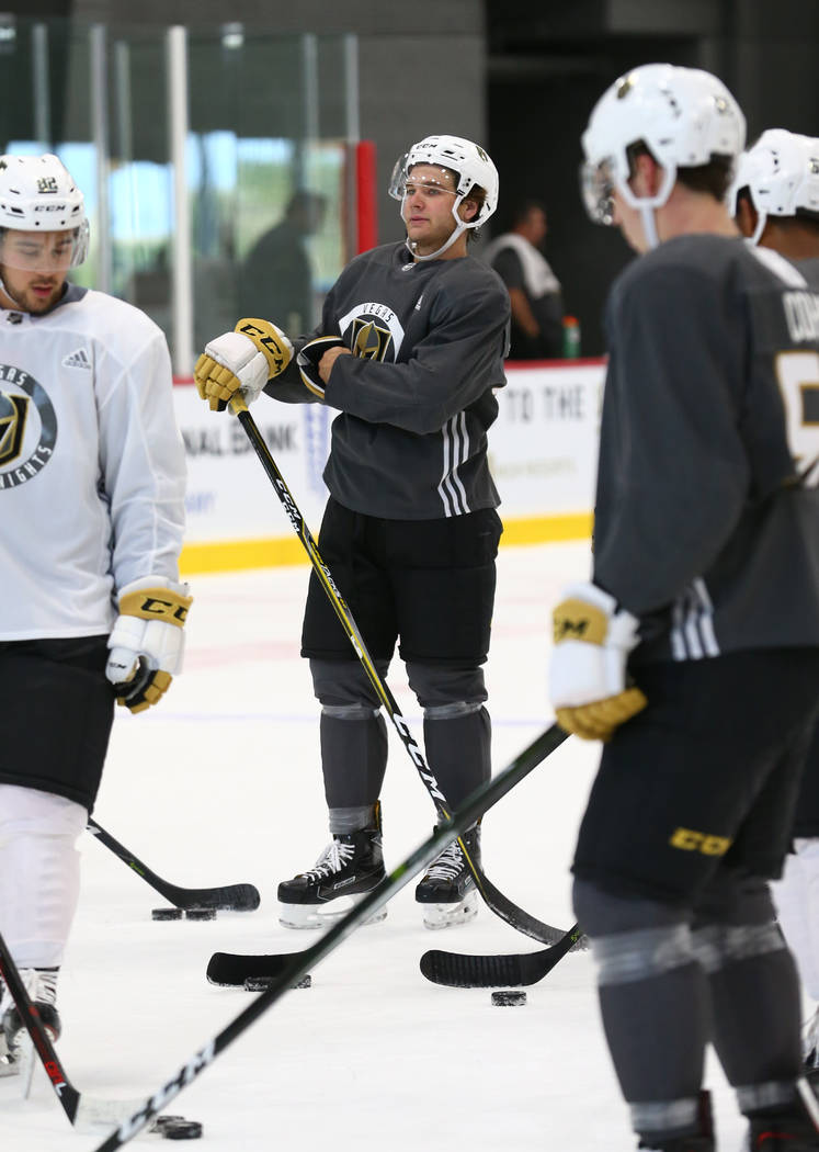 Vegas Golden Knights defender Jake Bischoff, center, on the ice during the final day of rookie camp practice at City National Arena on Monday, Sept. 11, 2017, in Las Vegas. Richard Brian Las Vegas ...