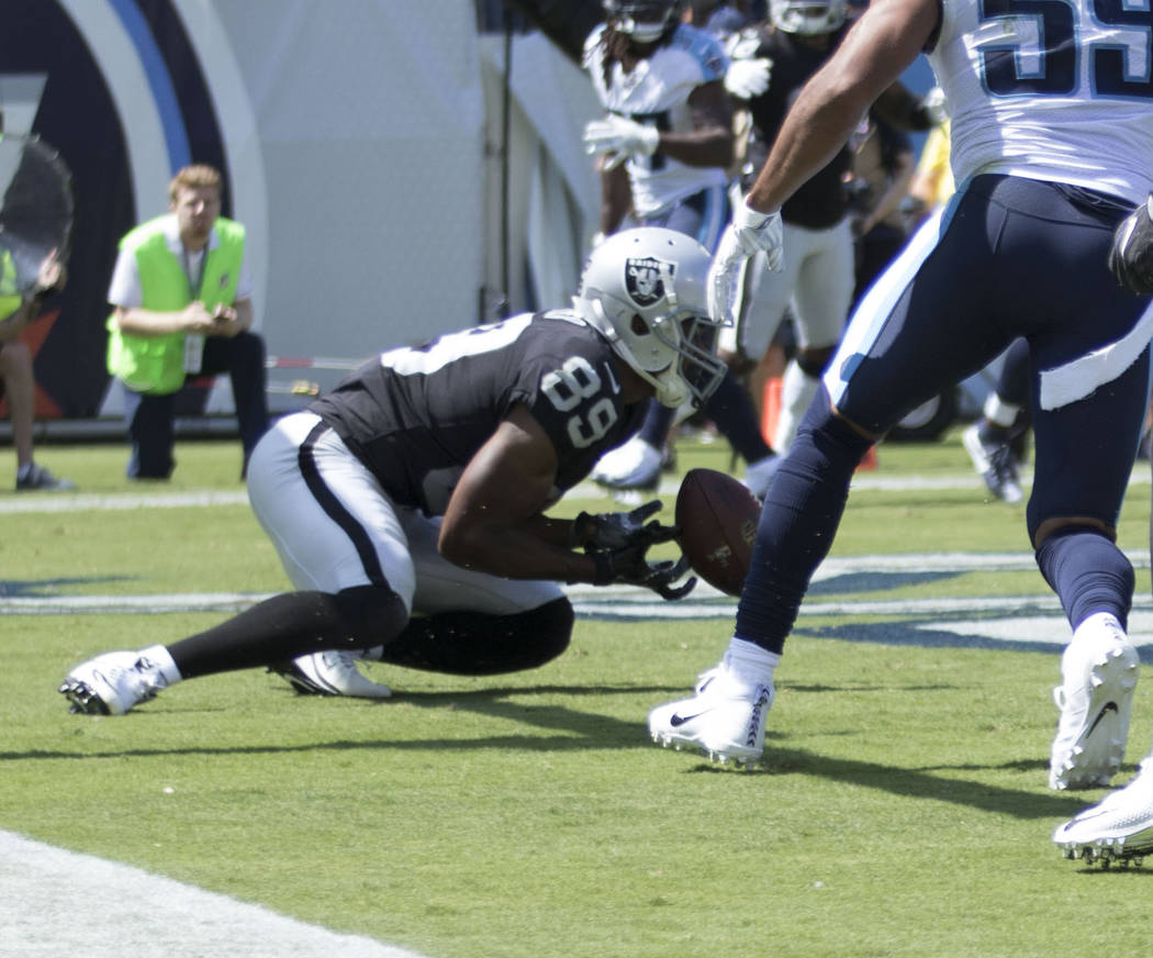 Oakland Raiders wide receiver Amari Cooper (89) drops the football in the end zone in the first half of the NFL game against the Tennessee Titans at the Nissan Stadium in Nashville, Tenn., Sunday, ...