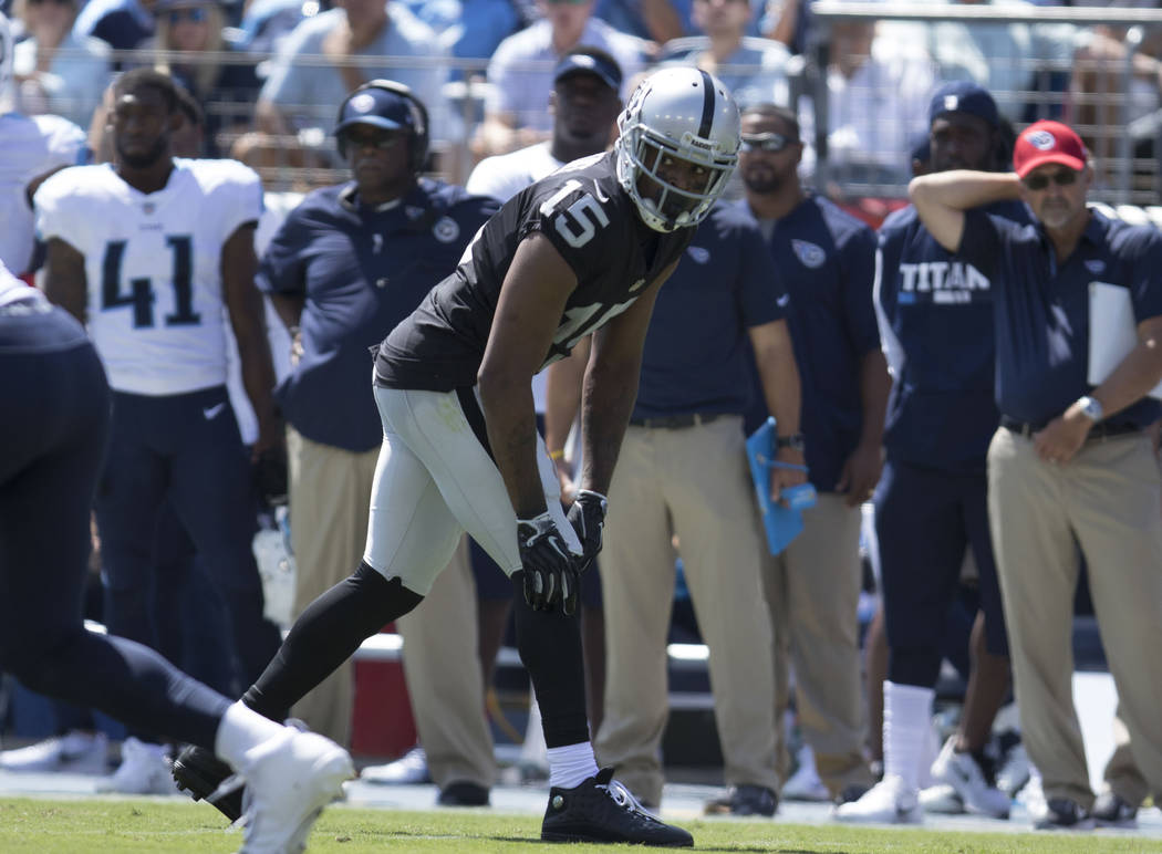 Oakland Raiders wide receiver Michael Crabtree (15) on the line of scrimmage in the first half of the game against the Tennessee Titans at the Nissan Stadium in Nashville, Tenn., Sunday, Sept. 10, ...