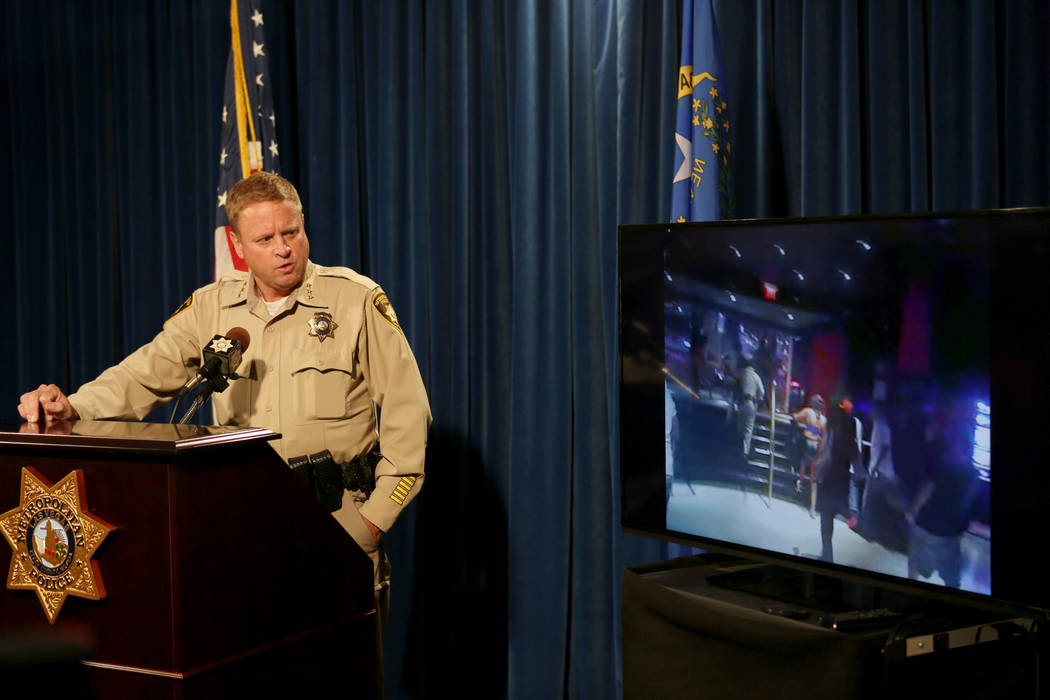 Undersheriff Kevin McMahill meets with news media at the Las Vegas Police Headquarters Wednesday, Sept. 6, 2017, regarding a Las Vegas police incident with Seattle Seahawks' Michael Bennet that  ...