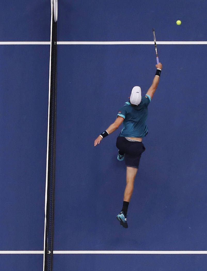 Kevin Anderson, of South Africa, misses a shot from Rafael Nadal, of Spain, during the men's singles final of the U.S. Open tennis tournament, Sunday, Sept. 10, 2017, in New York. (AP Photo/Julie  ...