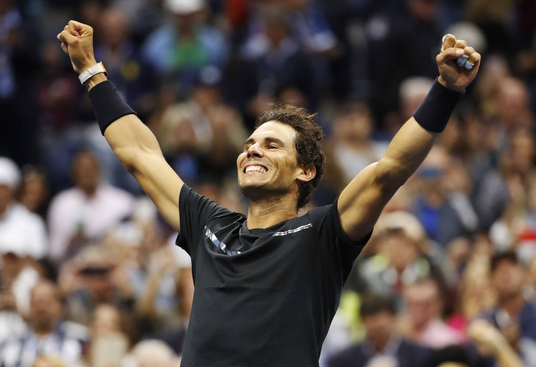 Rafael Nadal, of Spain, reacts after beating Kevin Anderson, of South Africa, to win the men's singles final of the U.S. Open tennis tournament, Sunday, Sept. 10, 2017, in New York. (AP Photo/Juli ...