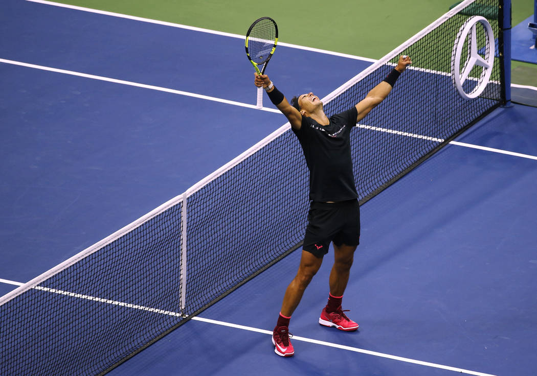 Rafael Nadal, of Spain, reacts after beating Kevin Anderson, of South Africa, to win the men's singles final of the U.S. Open tennis tournament, Sunday, Sept. 10, 2017, in New York. (AP Photo/Seth ...
