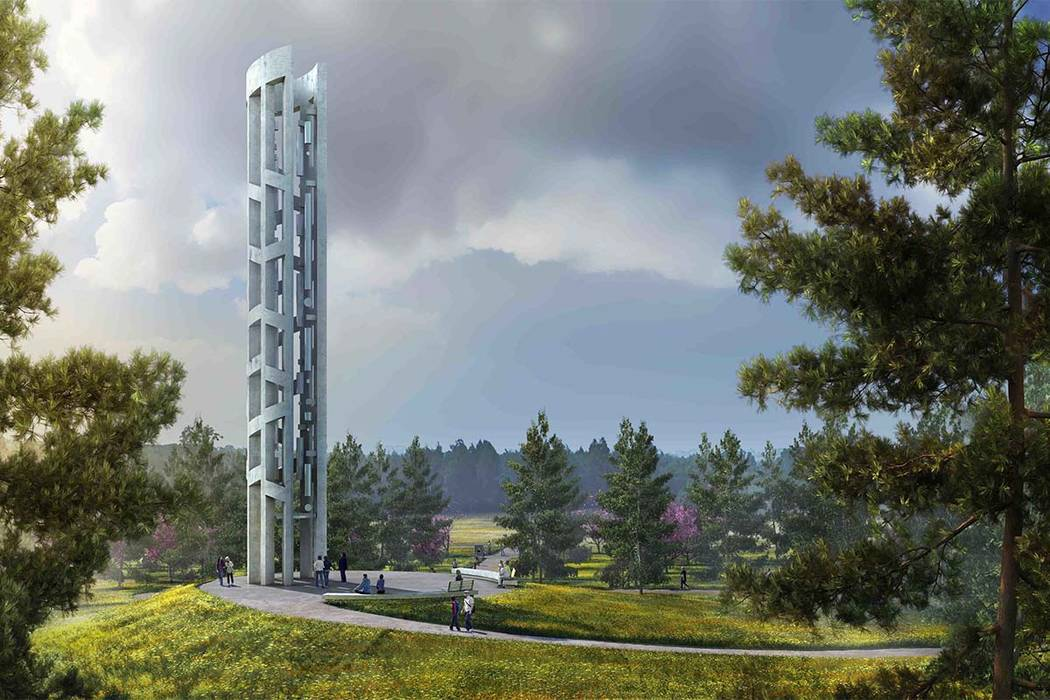 This undated artist rendering provided by bioLINIA and Paul Murdoch Architects via that National Park Service shows a depiction of the completed Tower of Voices that will be part of the Flight 93  ...