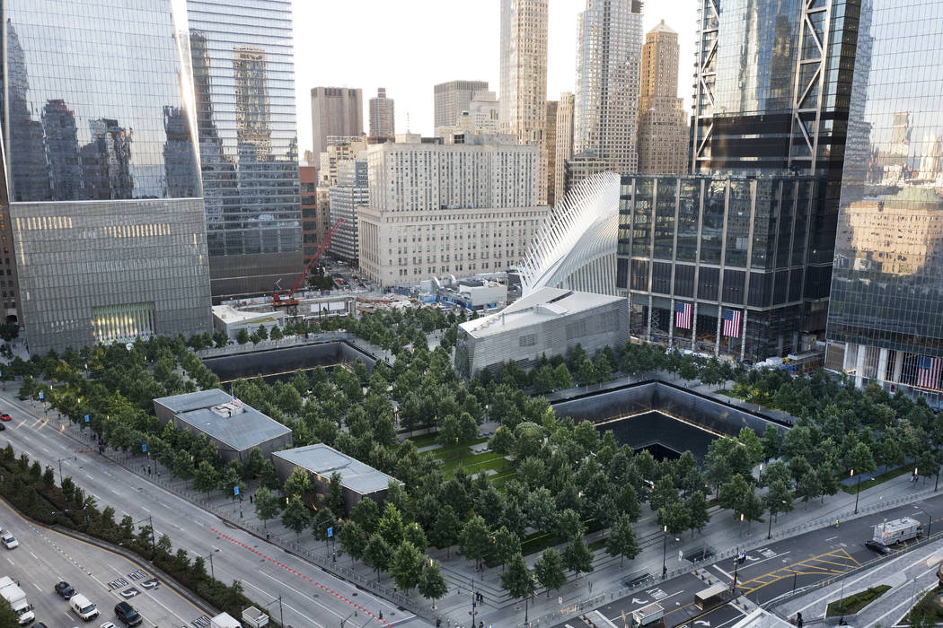 The National September 11 Memorial and Museum are set for a memorial service, Monday, Sept. 11, 2017, in New York. Thousands of 9/11 victims' relatives, survivors, rescuers and others gathered Mon ...