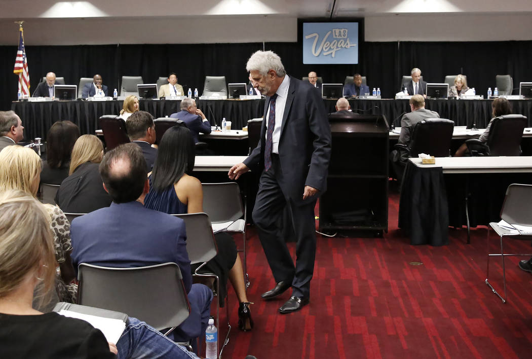 Billy Vassiliadis, CEO of R&R Partners, leaves the podium after speaking during the Las Vegas Convention and Visitors Authority board of directors meeting at Cashman Center on Tuesday, Sept. 1 ...