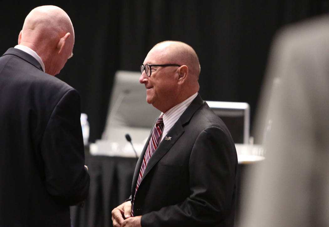 Las Vegas Convention and Visitors Authority president and CEO Rossi Ralenkotter, right, prior to the start of the LVCVA board of directors meeting at Cashman Center on Tuesday, Sept. 12, 2017, in  ...