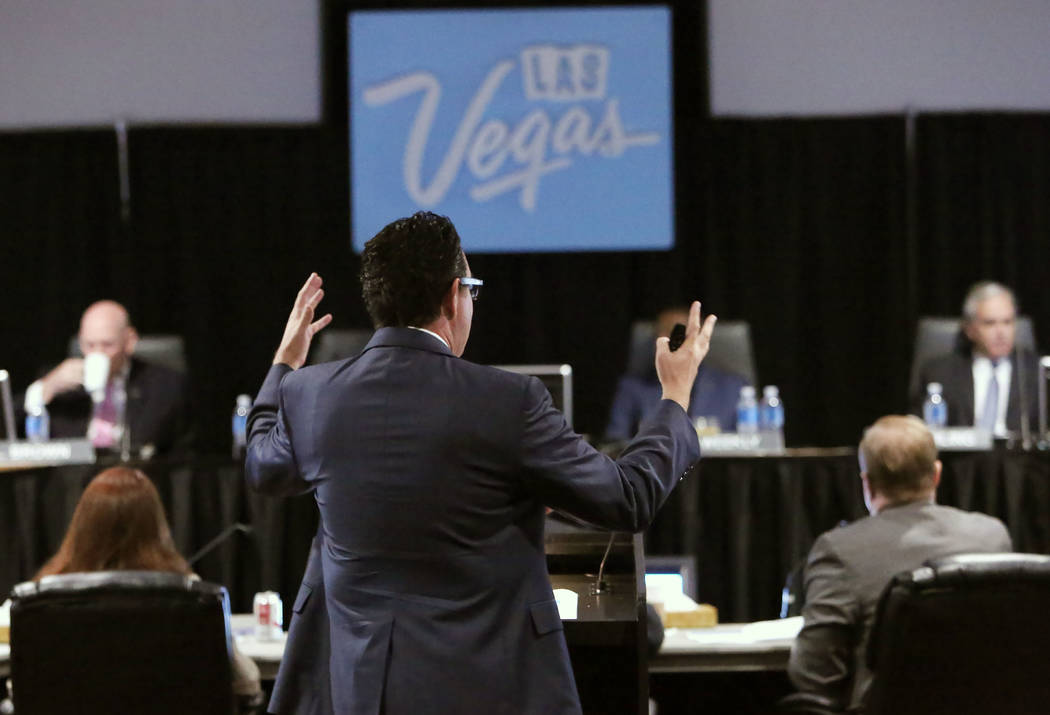 Jeremy Aguero, a principal at research and consulting firm Applied Analysis, speaks during the Las Vegas Convention and Visitors Authority board of directors meeting at Cashman Center on Tuesday,  ...