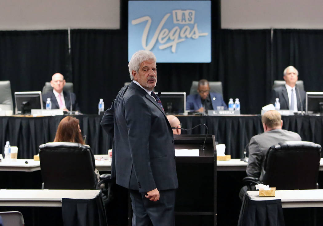 Billy Vassiliadis, CEO of R&R Partners, looks behind as he speaks during the Las Vegas Convention and Visitors Authority board of directors meeting at Cashman Center on Tuesday, Sept. 12, 2017 ...