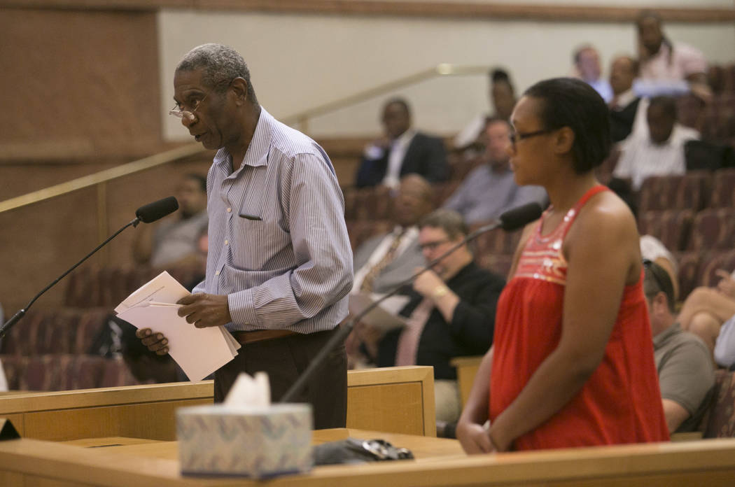Stanley Washington, left, and Regina Landeau, right, both of the Get Active Foundation, give a public comment during a Las Vegas Stadium Authority meeting at the Clark County Government Center in  ...
