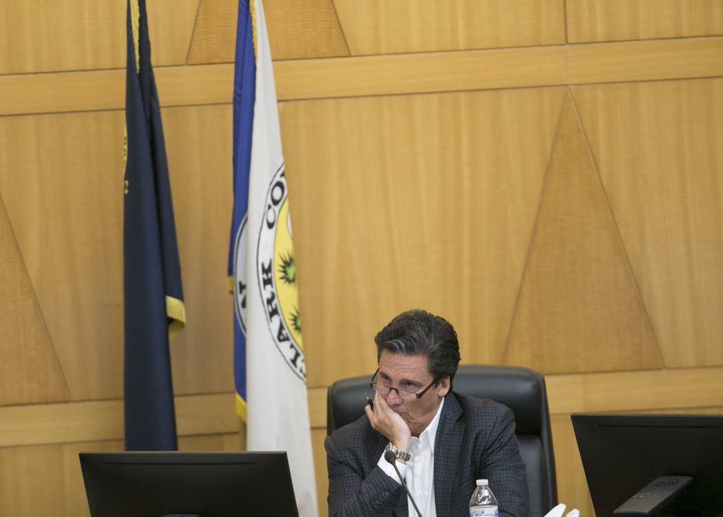 Bill Hornbuckle, president of MGM Resorts International, listens during a Las Vegas Stadium Authority meeting at the Clark County Government Center in Las Vegas, Thursday, Sept. 14, 2017. Gabriell ...