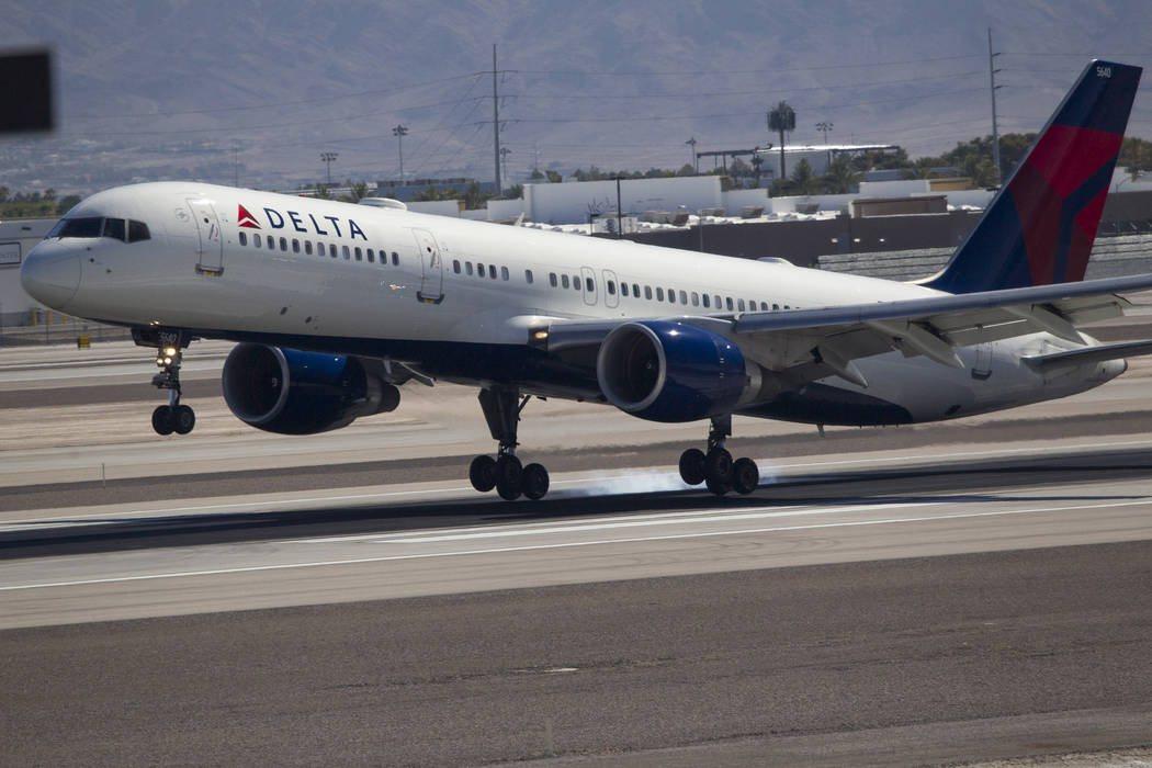 A Delta Airlines jetliner departs from McCarran International Airport in Las Vegas on Wednesday, June 28, 2017. (Richard Brian/Las Vegas Review-Journal) @vegasphotograph