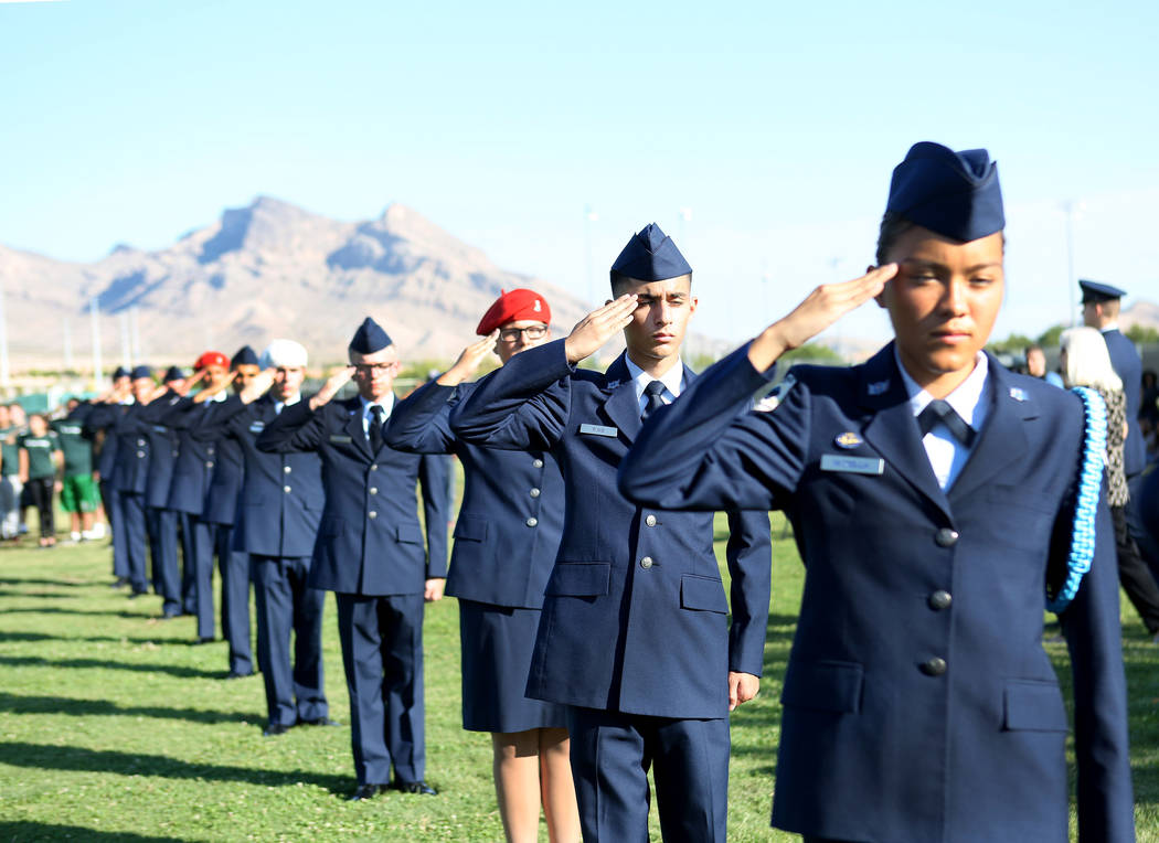 Palo Verde High School's Air Force JROTC's annual rededication ceremony in remembrance of the victims, including the school's foreign languages teacher Barbara Edwards, at the school in Las Vegas, ...