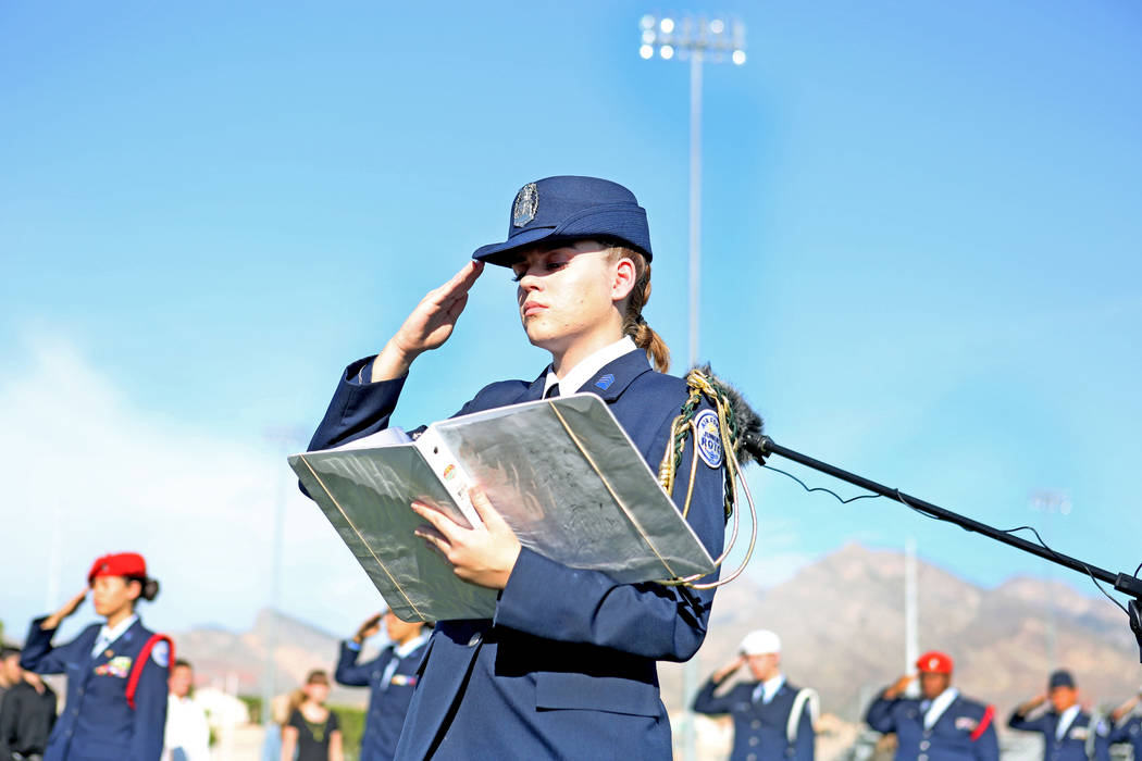 Core commander and cadette captain for Palo Verde high school's Air Force JROTC  Brittany Chambers, 17,  salutes during the Palo Verde High School's Air Force JROTC's annual rededication ceremony  ...