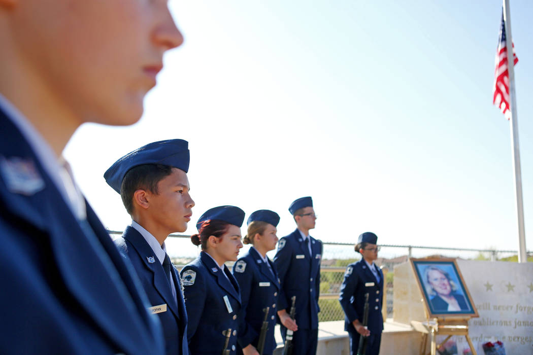 Palo Verde High School's Air Force JROTC's during the  annual rededication ceremony in remembrance of the victims, including the school's foreign languages teacher Barbara Edwards, at the school i ...