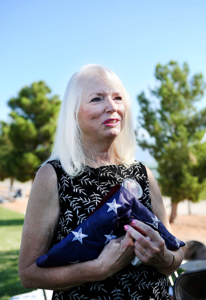 Gail Fahy, previous Palo Verde high school's foreign language chairwoman shares about her best friend Barbara Edwards, who was the school's foreign languages teachers, during the school's Air Forc ...