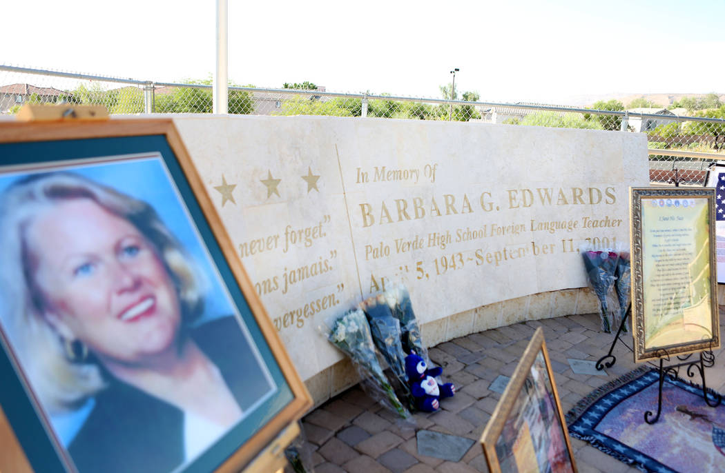 Foreign languages teacher Barbara Edwards is honored at Palo Verde High School's Air Force JROTC's annual rededication ceremony in remembrance of the victims, including Edwards, at the school in L ...
