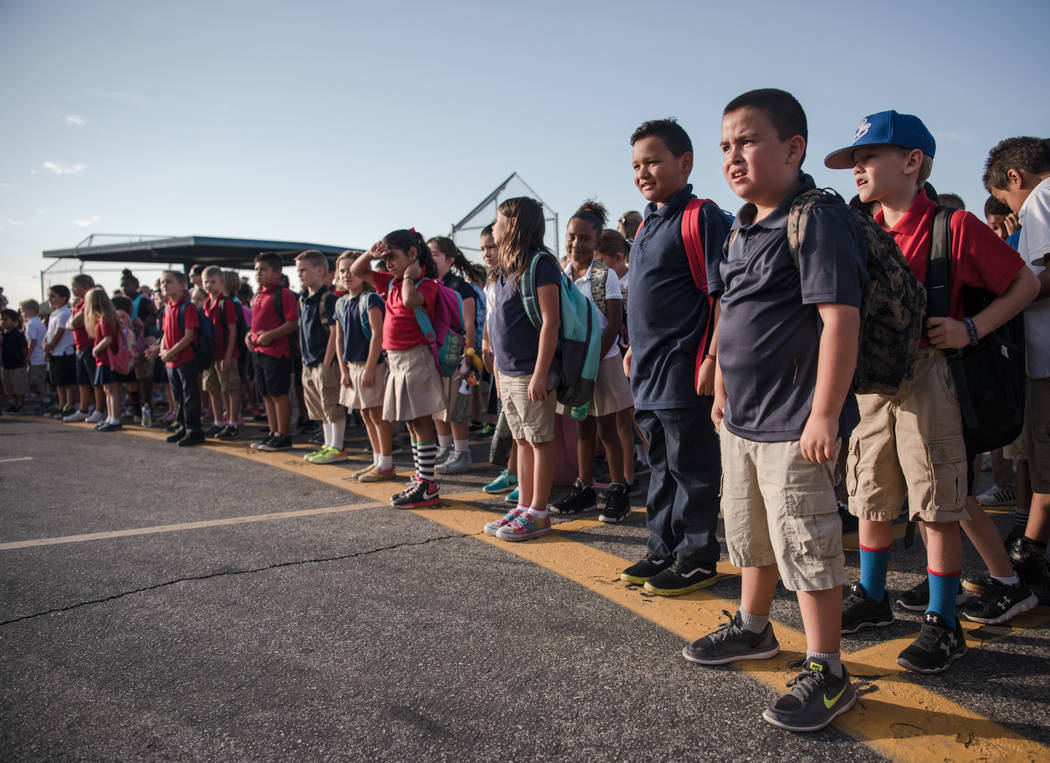 Students wait for the ceremony to begin at Joseph M. Neal STEAM Academy on Monday, Sep. 11, 2017, in Las Vegas. Morgan Lieberman Las Vegas Review-Journal