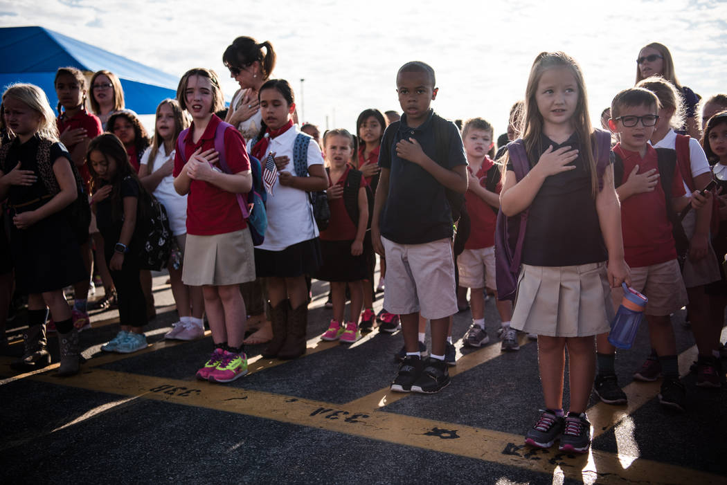 Students join together in the Pledge of Allegiance at Joseph M. Neal STEAM Academy on Monday, Sep. 11, 2017, in Las Vegas. Morgan Lieberman Las Vegas Review-Journal