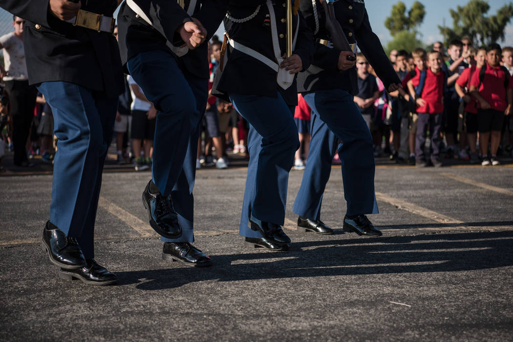 The Cheyenne High School Color Guard during a special ceremony at Joseph M. Neal STEAM Academy on Monday, Sep. 11, 2017, in Las Vegas. Morgan Lieberman Las Vegas Review-Journal