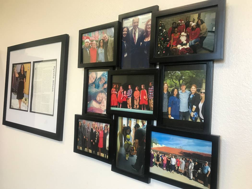 Photos hanging in Olive Crest executive director Myesha Wilson's office on Sept. 1, 2017 at 4285 N. Rancho Drive. (Kailyn Brown/View) @KailynHype