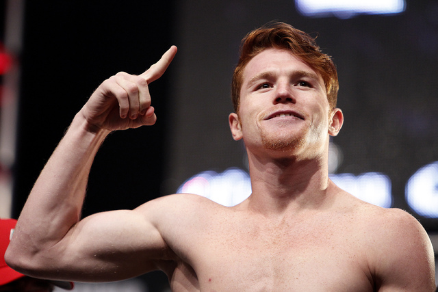 Canelo Alvarez poses during a weigh in at the MGM Grand in Las Vegas Friday, Sept. 13, 2013. Alvarez will fight Floyd Mayweather Saturday in a title bout at the MGM Grand.(John Locher/Las Vegas Re ...