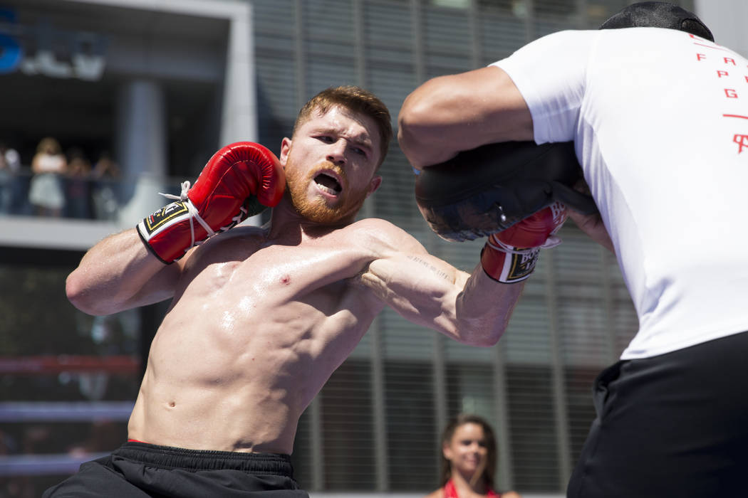 "Saul ""Canelo"" Alvarez during a media workout at L.A. Live in Los Angeles, Calif., on Monday, Aug. 28, 2017. Erik Verduzco Las Vegas Review-Journal @Erik_Verduzco"