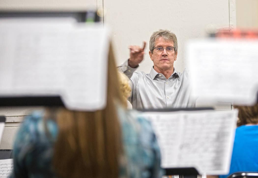Dave Loeb, director of UNLV's jazz studies program, leads rehearsal for the UNLV Jazz Ensemble at the Alta Ham Fine Arts building on Tuesday, September 12, 2017, at UNLV, in Las Vegas. Benj ...