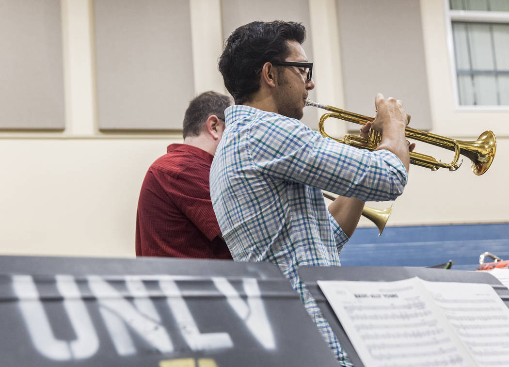 Jorge Machain and the UNLV Jazz Ensembles rehearse at the Alta Ham Fine Arts building on Tuesday, September 12, 2017, at UNLV, in Las Vegas. Benjamin Hager Las Vegas Review-Journal @benjaminhphoto