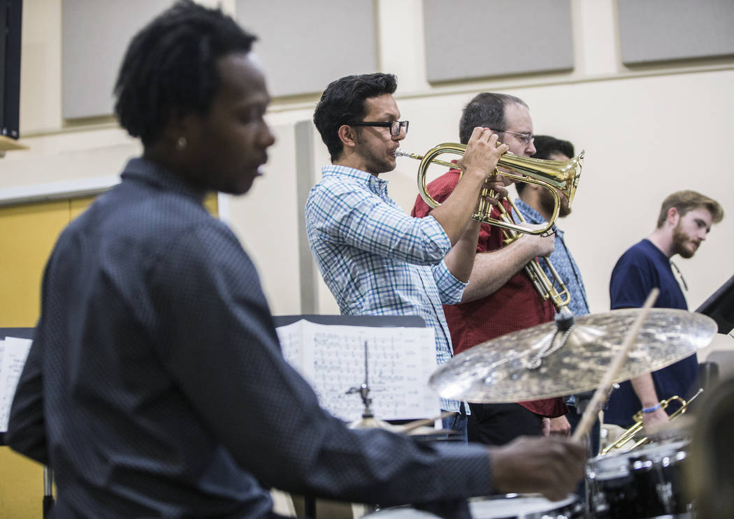 Jorge Machain, middle, and the UNLV Jazz Ensembles rehearse at the Alta Ham Fine Arts building on Tuesday, September 12, 2017, at UNLV, in Las Vegas. Benjamin Hager Las Vegas Review-Journal @benja ...