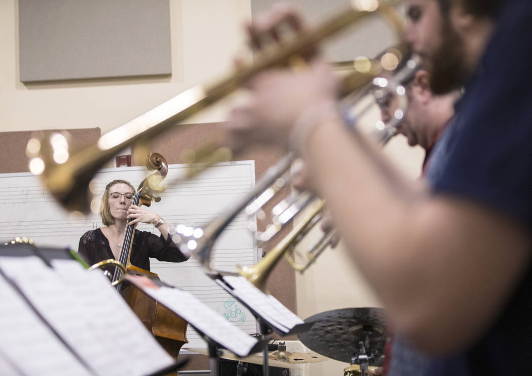 The UNLV Jazz Ensembles rehearse at the Alta Ham Fine Arts building on Tuesday, September 12, 2017, at UNLV, in Las Vegas. Benjamin Hager Las Vegas Review-Journal @benjaminhphoto