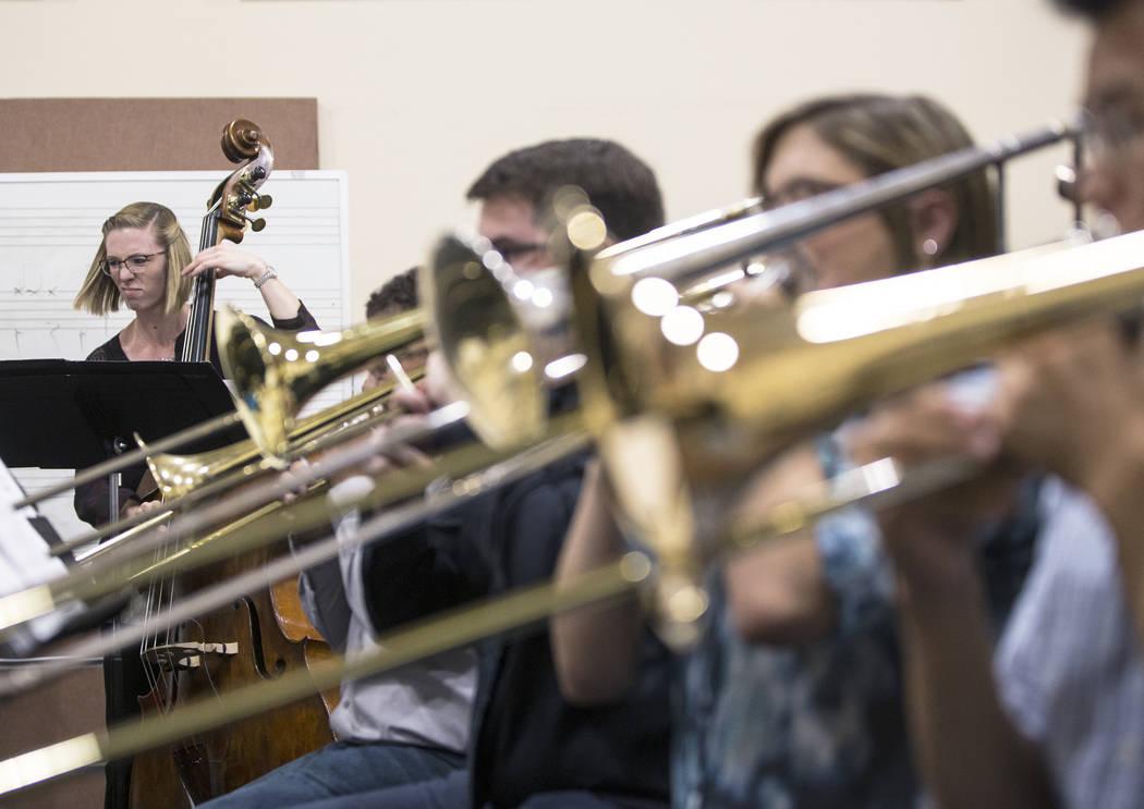 The UNLV Jazz Ensembles rehearses at the Alta Ham Fine Arts building on Tuesday, September 12, 2017, at UNLV, in Las Vegas. Benjamin Hager Las Vegas Review-Journal @benjaminhphoto