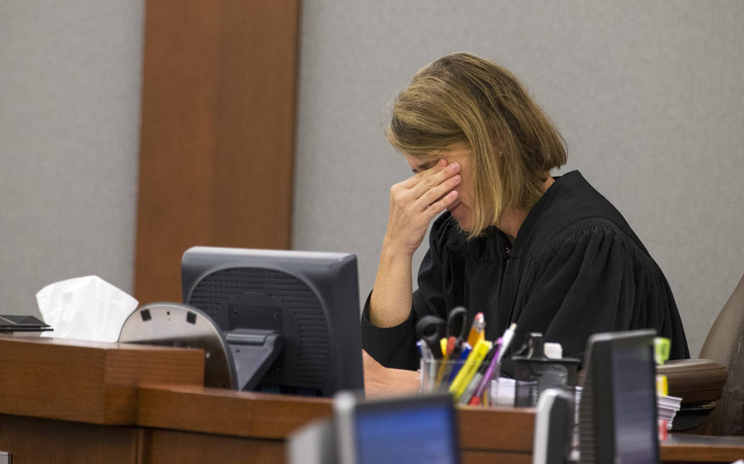 District Judge Jennifer Togliatti during the hearing of two-time killer Scott Dozier at the Regional Justice Center on Monday, Sept. 11, 2017, in downtown Las Vegas. Richard Brian Las Vegas Review ...