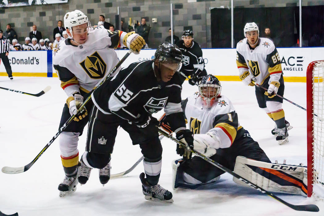Golden Knights goaltender Dylan Ferguson (1) stops Los Angles Kings Boko Imama (55) during a rookies' hockey game in El Segundo, Calf., Wednesday, Sept. 13, 2017. The Golden Knights won 4-0. Photo ...