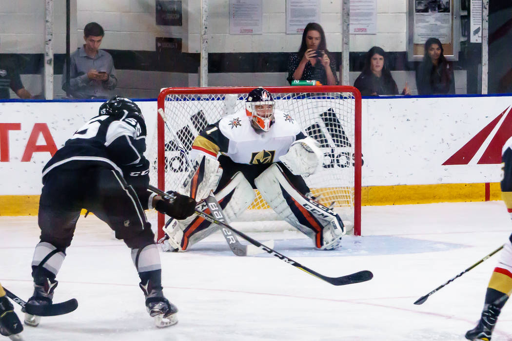 Los Angles Kings Boko Imama (55) plays against Golden Knights goaltender Dylan Ferguson (1) during a rookies' hockey game in El Segundo, Calf., Wednesday, Sept. 13, 2017. The Golden Knights won 4- ...