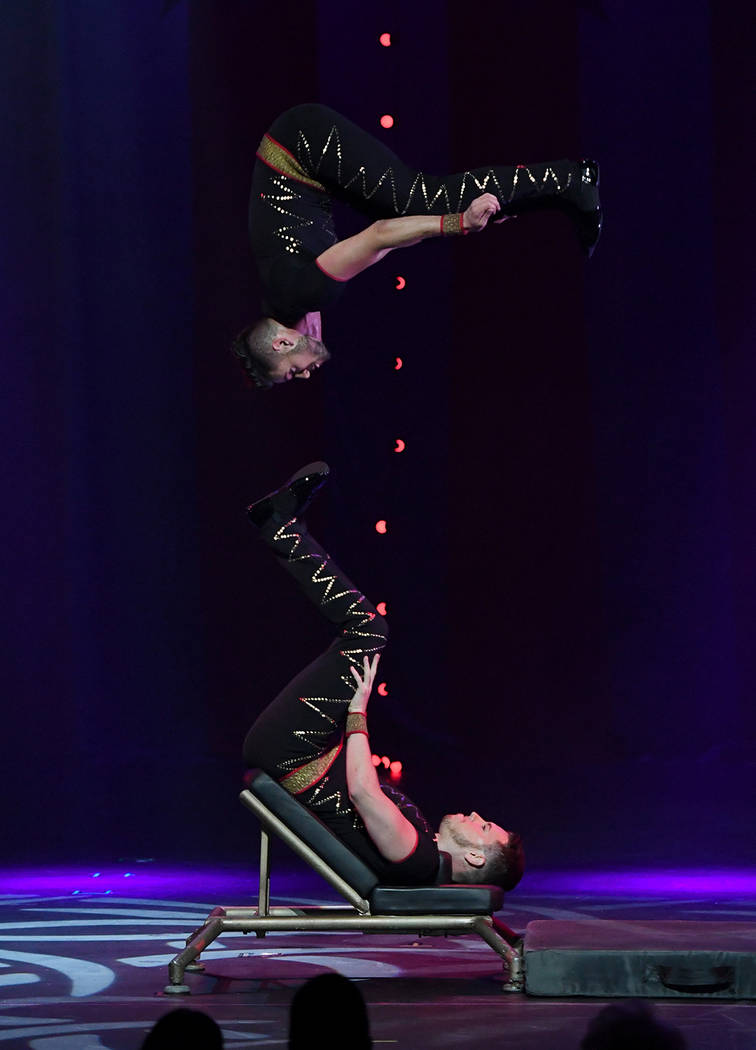 "Members of Fratelli Rossi perform during the opening night of ""Circus 1903"" at Paris Las Vegas. (Ethan Miller/Getty Images for ""Circus 1903"" At Paris Las Vegas)"