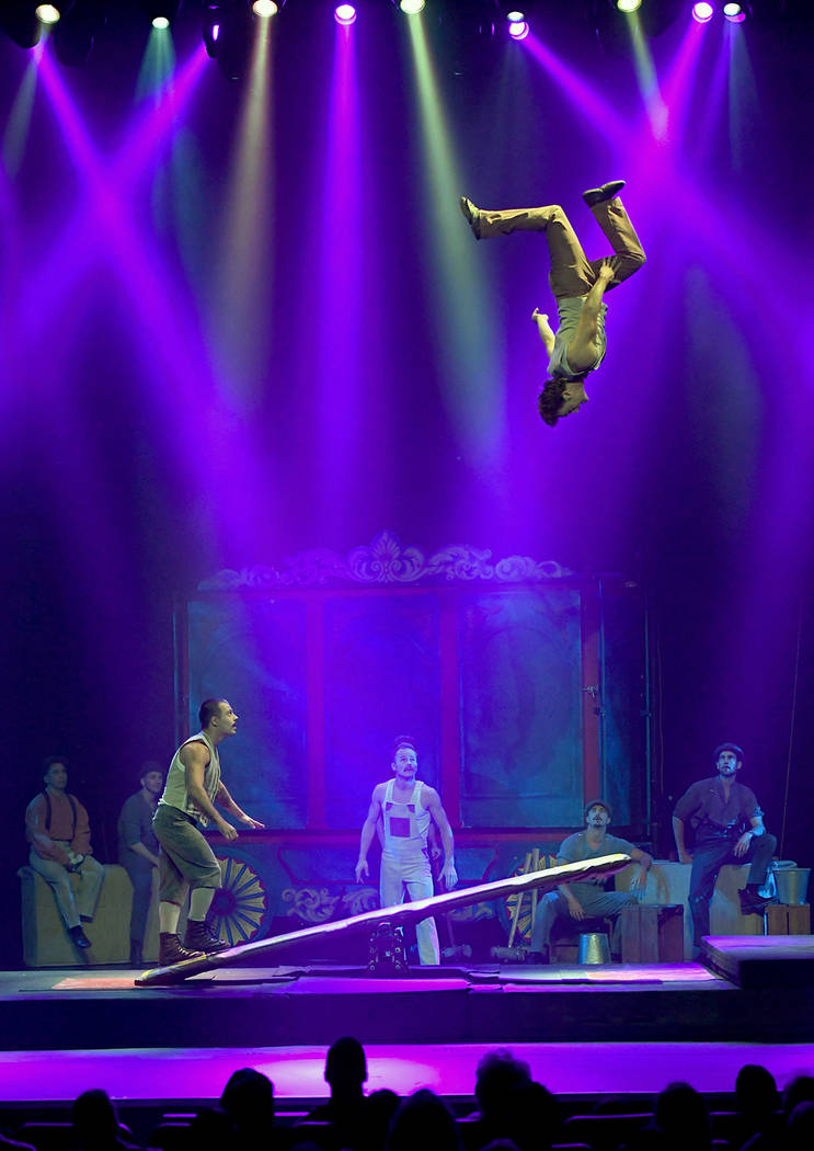 "The Flying Finns perform with a teeterboard during the opening night of ""Circus 1903."" (Ethan Miller/Getty Images for ""Circus 1903"" At Paris Las Vegas)"